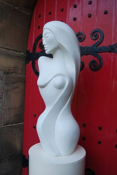Hand made marble/ mineral stone Abstract Contemporary or Modern Outdoor Outside Exterior Garden / Yard Sculptures Statues statuary sculpture by artist Jo Ansell titled: 'Savannah (female Torso Carved stone Stylised Contemporary statue)'