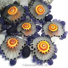 "ANASTASIA--lampwork beads--(8)--""PURPLE CLOUDS""--SRA"