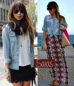 Camisa Jeans - saias longas #comousar #fashionblog