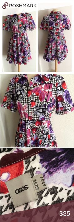 """ASOS floral/ cherry print dress ASOS floral/ cherry print dress. Size 10. Buttons (snap buttons) halfway down. Hidden zipper on the left side. Measures 35"""" long with a 40"""" bust and a 32"""" waist. 100% cotton. No stretch. Very good used condition!  🚫NO TRADES🚫 💲Reasonable offers accepted💲 💰Ask about bundle discounts💰 ASOS Dresses"""
