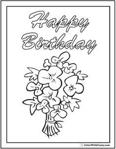 Happy Birthday Greetings Coloring Banner Or Poster