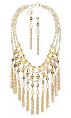 """Love this design, hate the color scheme.  I'm definitely going to build on this idea.    Triple-Strand Necklace and Earring Set with Swarovski Crystal Beads and Pearls, """"Vermeil"""" Beads and 14Kt Gold-Filled Chain"""
