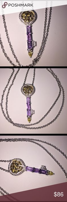 """🗝✨♥️✨Amethyst Key to My Heart✨♥️✨🗝 ♥️🗝♥️This Beautiful Key features 3 Amethyst Gemstones with a Simulated Yellow Diamond at the Tip.  1.150 Cts. TGW          KEY to my HEART ♥️🗝🗝♥️ION Plated  18K Yellow Gold and Platinum Bond Brass Pendant with 20"""" Stainless Steel Chain ♥️🗝🗝♥️Very Feminine & Sweet ♥️🗝🗝 Key to my Heart Jewelry Necklaces"""