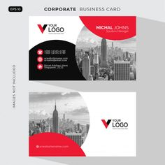 Red elegant corporate card free vector Free Vector Make Business Cards, Business Card Psd, Modern Business Cards, Business Card Design, Badge Design, Ux Design, Templates Printable Free, Card Templates, Vector Free