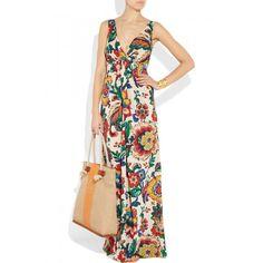 Tory Burch Coral silk-blend maxi dress