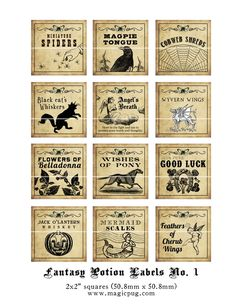 Antique Fantasy Potion Labels - for sale on etsy | Free Printables...