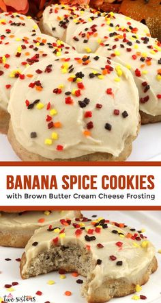 It is Fall and you deserve to celebrate with a batch of these delicious Banana Spice Cookies with Brown Butter Cream Cheese Frosting. Not every Banana recipe has to be in bread form - try this yummy f Banana Cookie Recipe, Cookie Frosting Recipe, Chocolate Cookie Recipes, Peanut Butter Cookie Recipe, Banana Recipes, Chocolate Chip Cookies, Recipes For Bananas, Healthy Banana Cookies, Banana Cupcakes