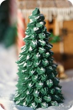 """Christmas trees out of ice cream cones - finished and """"flocked"""""""
