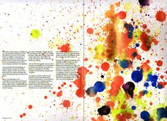 This double page spread really stands out, the fact that one page consists of writing and the other has a colourful design makes it really effective. The way the images extends across the two pages makes it look really interesting as well. I would like to consider this design in my own work.