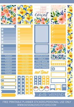 FREE printable planner stickers kit with beautiful floral motifs. These free stickers come with cut files. Click on the image to grab your freebie >>>