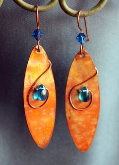 Celtic Earrings. Rolled Copper Oval. Flame Patina. by GaelicForge