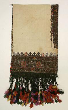 Scarf 1800–1941 Greek linen, silk, wool