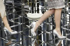 Shoe Style: Iridescent silver pumps + pearl ankle-bracelet at Chanel #Couture #SS17 #Paris #PFW