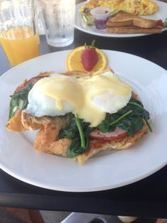 Eggs Benedict on croissant with spinach @ La Conversation, West Hollywood