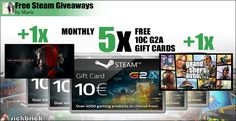 Free Steam Wallet Codes 5x 10 Euro and 2x AAA Games http://www.free-steam-giveaways.com/free-steam-wallet-codes-5x-10-euro-and-2x-aaa-games/