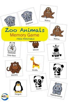 Zoo Animals Memory Game - Kidz Activities