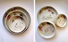 Rabbit nested counting bowls shows rabbits beneath maple leaves with one, two and three lounging on each piece by Tracie Griffith Tso of Reston, Va. Show Rabbits, Bunny Rabbits, Rabbit Nest, Maple Leaves, Pottery Studio, Counting, Bowls, Chinese, Ceramics