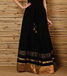 Black Hand Block Printed #Cotton #Skirt by #9rasa at #Indianroots