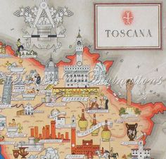 Tuscany Italy - Antique Map of Tuscany - Toscana - Original Gilded Chromolithograph Art Deco Picture Maps of Italy by Illustrator Nicouline. $95.00, via Etsy.