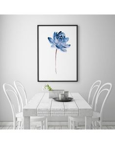 Blue Lotos Watercolor Painting Modern Minimalist Illustration. Abstract Flower Home Decor. Floral Garden Gift Idea. Water Flowers Fine Art Print. Blue Lotus Wall Decor. Type of paper: Prints up to (42x29,7cm) 11x16 inch size are printed on Archival Acid Free 270g/m2 White Watercolor