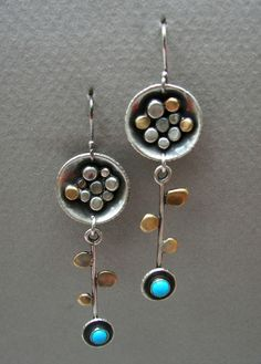 Dangling flower earrings: Long sterling silver and brass abstract flower earrings with leaves and 4 mm turquoise stone by tomlindesign on Etsy https://www.etsy.com/ca/listing/232268786/dangling-flower-earrings-long-sterling