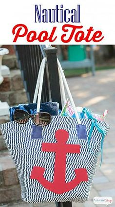 DIY Nautical Tote Bag with @ajastro | See how Americana Decor Outdoor Living added the perfect waterproof accent to this trendy pool tote. #decoartprojects