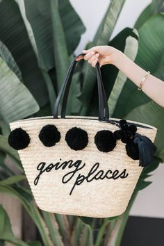 Going places | Beach bag | Pompoms | Beach | Summer | Plants | More on Fashionchick.nl
