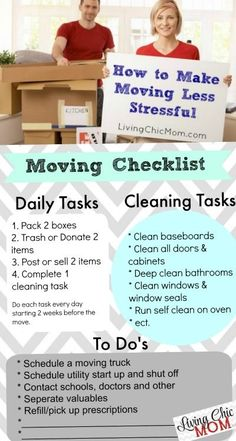 To Make Moving Less Stressful + Printable Moving Checklist! - Living Chic MomHow To Make Moving Less Stressful + Printable Moving Checklist! Moving House Tips, Moving Home, Moving Day, Moving Tips, Moving Hacks, Moving Stress, Packing To Move, Packing Tips, Move On Up