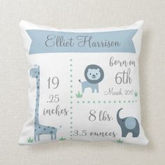 Baby Birth Announcement Pillow case - Personalized Nursery pillow case - Custom Baby Shower Gif, Newborn Baby Gift Idea, baby boy, baby girl by HELLOMAMABEARdotcom on Etsy Baby Pillows, Kids Pillows, Throw Pillows, Couch Pillows, Accent Pillows, Cushions, Baby Shower Niño, Baby Shower Gifts, Baby Boys