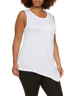 Plus Size Sleeveless Tunic Top with Subtle Handkerchief Hem