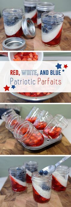 Celebrate summer and get patriotic with these red, white and blue gelatin parfaits. Impress friends and family with angled layers of strawberries, blueberries, and creamy vanilla ice cream. These cute little desserts, made in Mason jars, will get your backyard barbecue or rooftop fireworks display off to a festive start. Read more: http://www.ehow.com/info_12340443_red-white-blue-patriotic-parfaits.html?utm_source=pinterest.com&utm_medium=referral&utm_content=article&utm_campaign=fanpage Fourth Of July Food, 4th Of July Desserts, 4th Of July Party, July 4th, Holidays And Events, Holiday Treats, Holiday Recipes, Parfait Desserts, Mason Jar Desserts