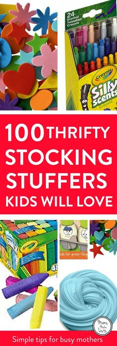 Christmas stocking fillers for kids ... 100 lovely ideas for cheap DIY homemade Christmas stocking fillers and stocking stuffers. Lots of these ideas you could buy at the dollar store, make yourself or buy in bulk and then split up between different kid's stockings. #ChristmasStocking
