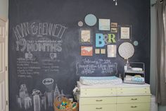 Chalkboard Wall in Twin Boys Nursery - we love the addition of the eclectic gallery wall!