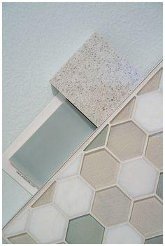 Samsung Gentle Gray Quartz countertop, Oceanside Glasstile Atmosphere, Savoy tile leaf