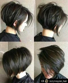 Short Layered Brunette Bob bob haircuts with layers thick hair 70 Cute and Easy-To-Style Short Layered Hairstyles Pixie Bob Haircut, Short Bob Haircuts, Hairstyles Haircuts, Pretty Hairstyles, Bob Haircuts For Women, Layered Hairstyles, Stacked Haircuts, Short Dark Hairstyles, Short Hair With Undercut