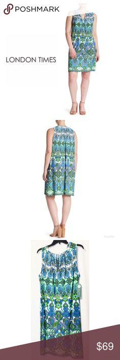 02221afe8e45e London Times Pleated Back Shift Dress Plus Size 2X