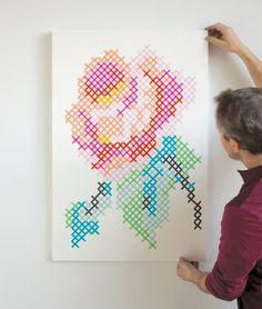 Washi tape cross stitch rose