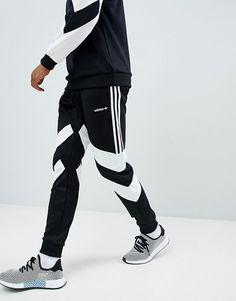 Adidas Originals Palmerston Joggers In Black - Black Adidas Joggers Mens, Adidas Tracksuit, Tracksuit Pants, Mens Velour Tracksuit, Fashion Pants, Sneakers Fashion, Adidas Originals, Mens Cotton Shorts, Track Suit Men