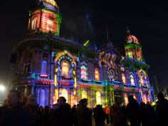 Hull Maritime Museum lit up by the fantastic light installations in Queen Victoria Square during the first week of #MadeInHull