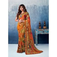 Multi Color Georgette Flower Printed Saree Product Details : Fabric of this casual wear saree is georgette. Comes along with a yellow color raw silk unstitched blouse. Saree has flower design print. Ideal for casual wear or daily wear. Winter Fashion Outfits, Spring Outfits, Maroon Cardigan, Wrap Dress Floral, Georgette Sarees, Printed Sarees, Party Wear Sarees, Fashion Prints, Blouse Designs