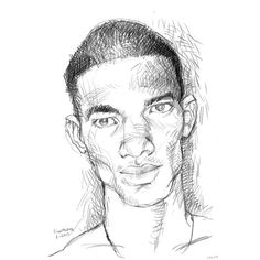 Portrait of Young Black Man, portrait drawing, 11x17 ($80) ❤ liked on Polyvore featuring home, home decor, wall art, black home decor, black wall art, unframed wall art, portrait drawing and paper wall art