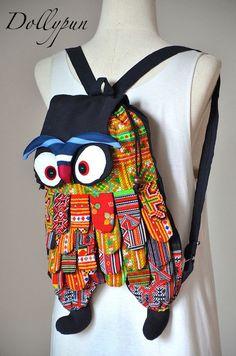 BLACK  Jumbo owl backpack Hmong bag Tablet Smartphone by Dollypun, $16.98