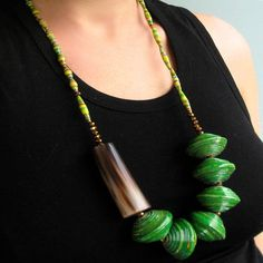 Green paper bead necklace big fashion beads Ugandan por Mudhut101