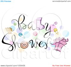 Royalty-Free Vector Clip Art Illustration of Baby Shower Text With ...