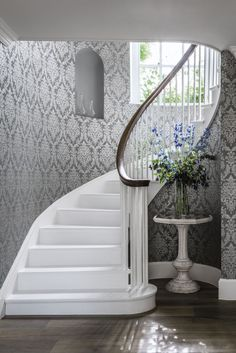 Elegant Wallpaper Design Called Riverside Damask Grey Kitchen Hallway Interior