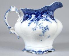 china pitchers | 768: Flow Blue China Richmond Pattern Water Pitcher by : Lot 768