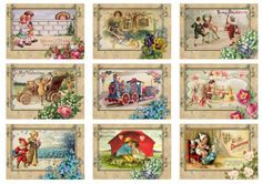 VINTAGE VALENTINE CARDS Tags or Cards Digital Collage Sheet 2.389 | Artvision - Craft Supplies on ArtFire