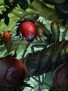 Murderous Rose Demon by Rudy Siswanto aka crutz Monster Art, Plant Monster, Monster Concept Art, Fantasy Monster, Monster Design, Dark Creatures, Forest Creatures, Weird Creatures, Magical Creatures