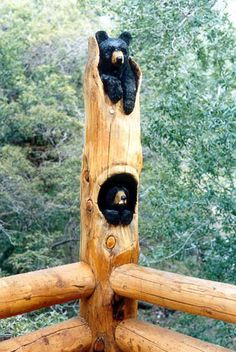 By Jonathan The Bearman, a gifted wood artist located in Afton, Wyoming...looking out towards pond off of kitchen deck http://jonathanbearman.com/