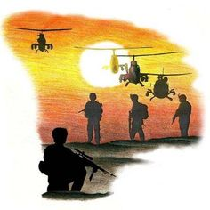 Military Tattoos on Home Military Tattoos Military 6 helicopter sunset tattoo flash art ~A.R.